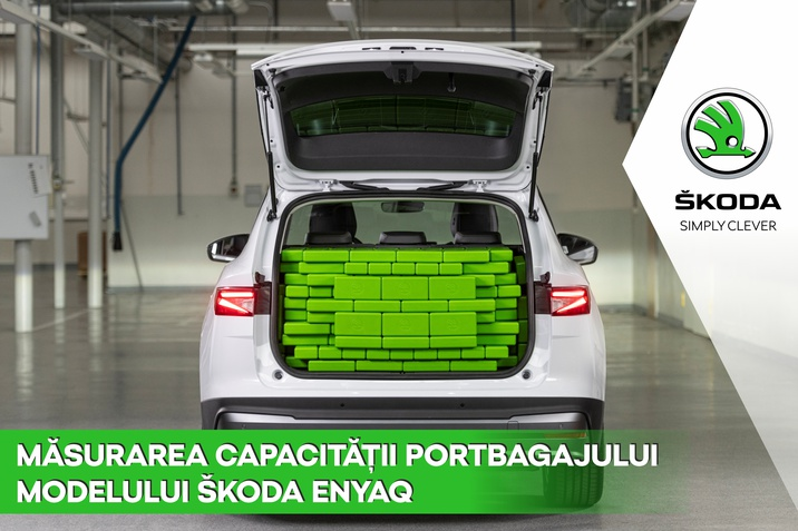 Masurarea capacitatii portbagajului modelului Skoda Enyaq